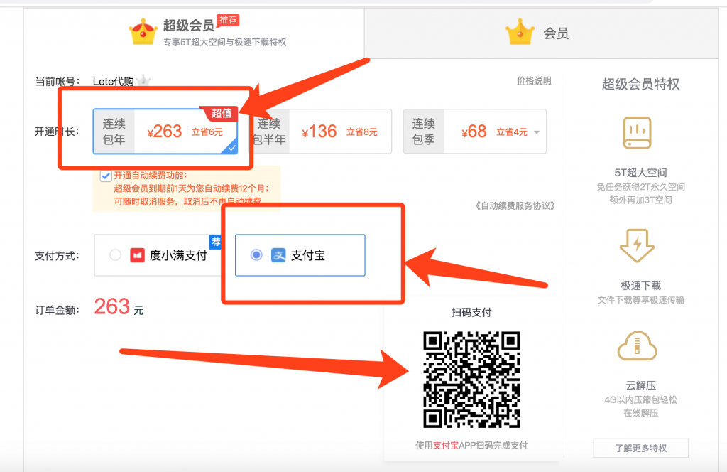 Pan baidu Premium Account 百度云盘会员充值