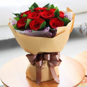 Send Love 11 Red Roses Bouquet to China