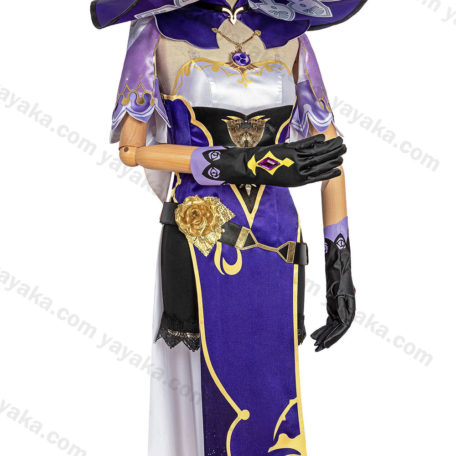 Click to EnlargeReport Copyright Infringement Genshin Impact Mona Purple and Black Leotard Bodysuit Separate Cloak Sleeves Cosplay Costume Full Set with Witch Hat and Leg Rings